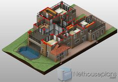 5 Bedroom House Plans Double Storey 3D in South Africa | NethouseplansNethouseplans