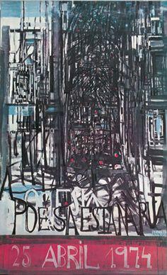 Cartaz pintado por Vieira da Silva,  com a frase «a poesia está na rua»