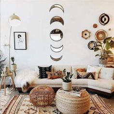 You are looking at a complete set of Moonphasewall mirrors for you home! These mirrors are a perfect addition to any moon lovers room and are a great spiritual home decor piece! They easily bounce the light around and will make your home feel more light and spacious nuosunny. Features: These are made from wood and the Wall Mirrors Set, Mirror Set, Moon Mirror, Bohemian Wall Decor, 3d Home, Nature Decor, Living Room Bedroom, Mirror Bedroom, Interior Design
