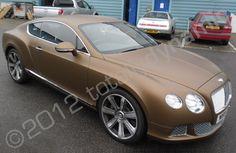 Bentley GT vinyl wrapped in matt metallic bronze car wrap by Totally Dynamic South London
