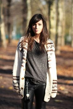knit cardigan and leather pants
