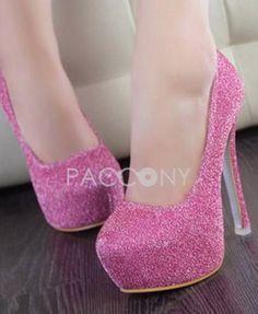 Fashion Shining Gold Pink Stiletto Ultra High Heel Pumps