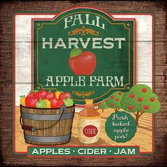 Fall Harvest Apple Farm (Mollie B) Apple Harvest, Fall Harvest, Apple Farm, Baltic Birch Plywood, Country Art, Food Labels, Art And Technology, Large Format, Painted Signs