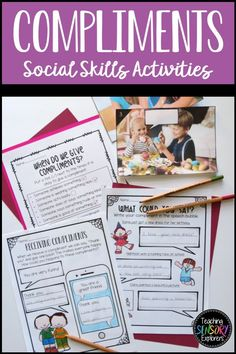 Compliments: Social Skills Worksheets, Activities and Social Narrative Teaching Emotions, Autism Teaching, Teaching Social Skills, Teaching Resources, Elementary School Counseling, Elementary Schools, Therapy Activities, Therapy Ideas, Giving Compliments