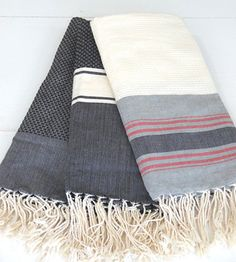 Brook Farm General Store: Hammam Towel; grey, ivory, black and striped colorways, $68