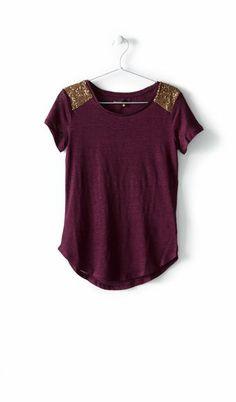 Tee-shirt manches courtes lin epaule sequins femme de chez Bizzbee