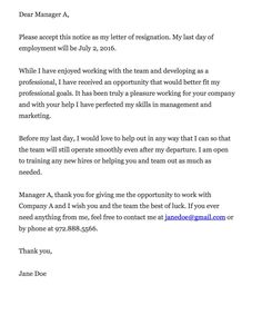 Resignation Letter 2 Week Notice - WOW.com - Image Results | Career ...