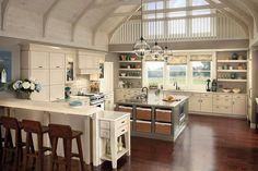 Traditional Kitchen with Exposed beam, Dupont Corian Designer White, Pendant light, Quartz counters, Kitchen island, U-shaped