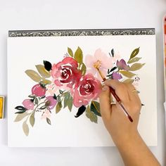 Learn to paint beautiful, loose watercolor roses on the Snowberry Design Co Y.