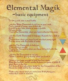 Elemental Magic (see BoS 08 Page Start with Elemental Magik - consecrating basic equipment ~~~~~~~~~~ free for personal non-commercial use ~~~~~~~~~~. Book of Shadows 15 Page 1 Wicca Witchcraft, Magick, Elemental Magic, Practical Magic, Magic Spells, Jar Spells, Candle Spells, Book Of Shadows, Spelling