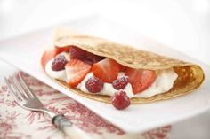 Tuck into strawberries and cream for Wimbledon.  Strawberry, Raspberry & Vanilla Cream Pancakes Receipe.