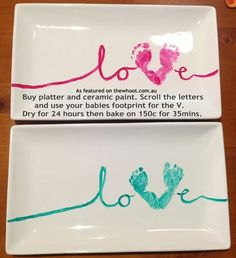 Buy platter and ceramic paint. Scroll the letters and use your babies footprint for the V. Dry for 24 hours then bake on 150c for 35mins.