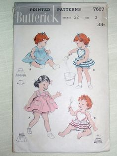 Butterick 7667 - Girls Sunsuit - Dress - Ruffled Panties - Ballerina Playsuit - Swimsuit - 1956 Vintage Sewing Pattern - Size 3 Toddler. $24.99, via Etsy.