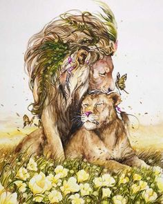 Lion and Lioness by Luqman Reza Mulyono Watercolor Animals, Watercolor Art, Animal Drawings, Art Drawings, Lion Love, Lion Art, Cross Paintings, Animal Paintings, Cat Art