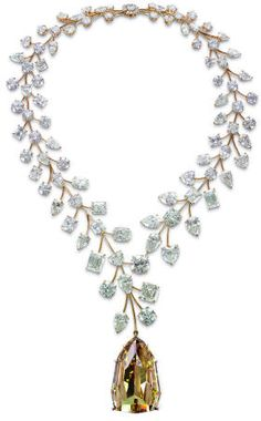 """Mouawad """"L'Incomparable"""" necklace set with a IF 407.48 carat step cut cognac diamond with rose gold necklace featuring 91 diamonds with a total weight of 635.4 carats. The Incomparable was discovered by a little girl in the Democratic Republic of Congo in a pile of kimberlite that was sorted out in 1980."""