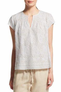 Sale 100% Original Sale Inexpensive Calypso Lace-Trimmed Short Sleeve Top RKaCBy