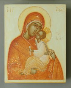 Theotokos by Gabriel Toma Chituc Religious Icons, Religious Art, Byzantine Icons, Russian Orthodox, Orthodox Icons, Blessed Mother, Sacred Art, Our Lady, Gabriel