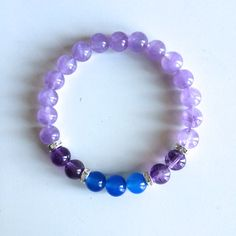 Healing Ear Problems ~ Genuine Amethyst, Cape Amethyst & Electric Blue Agate Bracelet w/ Swarovski Crystal Roundels