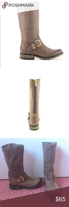 "STEVE MADDEN Fabiana Boot Steve Madden taupe Fabiana boot with a color contrast back blue zipper and a gold buckle accent.  Round toe.  1.25"" block heel. Steve Madden Shoes"