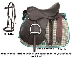 Brown Leather English Horse Saddle Tack Package 16 18