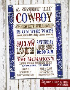 Western Boy - Baby Shower Invitation - Red/Blue via Etsy