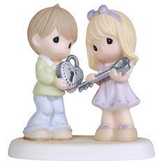 Boy and Girl with Heart Lock and Key Figurine