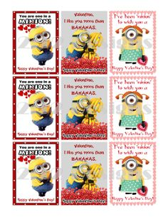 DESPICABLE ME MINIONS Printable Valentines  by twotwelvedesigns - instant download! $5.50 #valentines #despicableme #minions