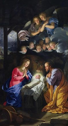 The Nativity painting by Philippe de Champaigne Christmas Nativity, Christmas Images, The Nativity, Nativity Scenes, Merry Christmas, Religious Images, Religious Art, Philippe De Champaigne, Nativity Painting