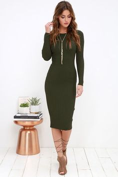 Simply Smitten Olive Green Sweater Dress at Lulus.com!