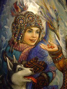 Фрагмент росписи деревянной фигуры Деда Мороза. Автор: Вита Игуменова.