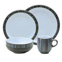 Dinnerware Set 12 Piece Stoneware Dinner Plate Salad Soup Cereal Bowl Stripes