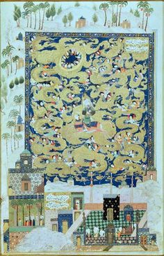 Mohammed riding Buraq up to Paradise. 1504 A.D. illustration from the Khamsa of Elyas Nezami. Original in a private collection.