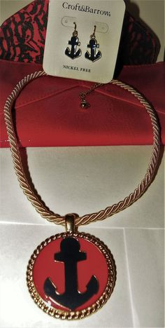 AUCTION CROFT & BARROW SIGNED NAUTICAL jewelry SET .99 CENTS COMB SHIP