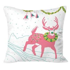 DENY Designs Holiday Deer Throw Pillow - Pink (20