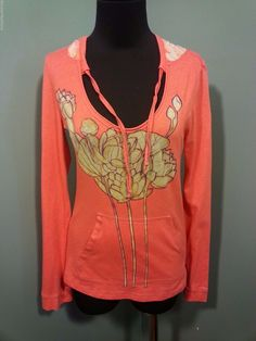 Free People Peach Coral Big Flower Cotton Knit Hooded Pullower Casual Top S  #FreePeople #KnitTop #Casual #daystarfashions $19 OBO FREE SHIP
