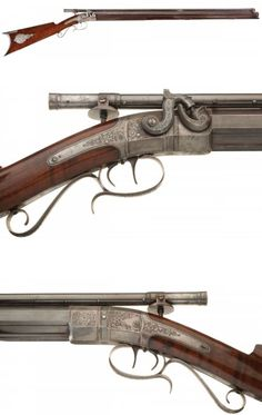 Engraved percussion muzzleloading target rifle crafted by Morgan James of Utica, New York, mid 19th century.
