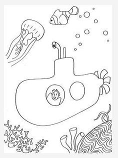 Submarine Adventure Coloring Page - Kids will adore this printable coloring page. It's the perfect nautical adventure for when you can't make it to the beach.