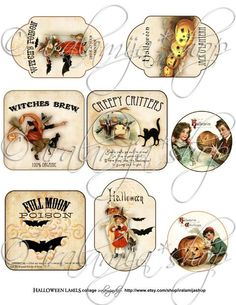 New HALLOWEEN LABELS Collage Digital Images by iralamijashop, $4.50