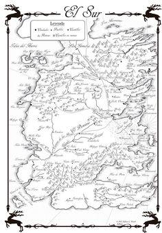mapa de el sur en español