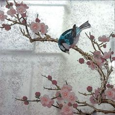 Verre Eglomise Sample: Japanese Blossom Tree & Blue Bird on Lilac Distressed Mirror by Timna Woollard Studio Mirror Painting, Mirror Art, Diy Mirror, Cool Diy Projects, Art Projects, Japanese Blossom, Japanese Lilac, Old Mirrors, Painted Mirrors