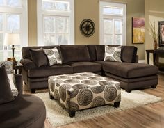 Rayna Sectional by Chelsea Home Furniture in Groovy Chocolate/Big Swirl Chocolate 738642-6167-35218 | Sofas & Sectionals