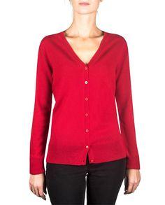 Damen Kaschmir Strickjacke Cardigan V-Ausschnitt rot Elegant, Gilets, Pulls, Sweaters, Fashion, Cashmere Wool, Fashion Ideas, Women's, Red