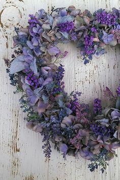 Heart wreath would make a fab focal point hung up on the wall behind the registrar Wreath Crafts, Diy Wreath, Door Wreaths, Stick Wreath, Hydrangea Wreath, Floral Wreath, Purple Wreath, Couronne Diy, Corona Floral