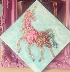 Unicorn button art / mixed Media framed art