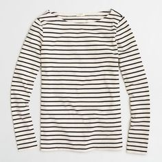 J.Crew Long-sleeve striped boatneck T-shirt ($23) ❤ liked on Polyvore featuring tops, t-shirts, j crew t shirts, long sleeve white t shirt, white long sleeve tee, white stripes t shirt and long sleeve t shirts