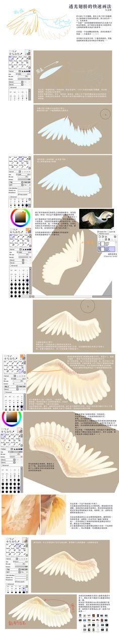 透光羽毛的快速画法-rei子__涂鸦王国插画