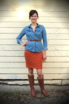 belted chambray over a pencil skirt with boots