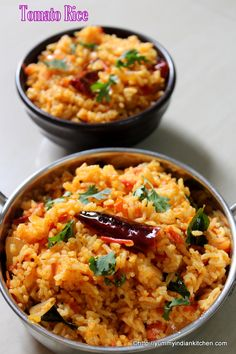 Tomato rice is a traditional south indian rice recipe made using tomato flavors mixed up with cooked white rice.Its a common breakfast or lunch rice recipe. Tomato Rice Recipe South Indian, South Indian Vegetarian Recipes, South Indian Food, Indian Food Recipes, Asian Recipes, Ethnic Recipes, South Indian Breakfast Recipes, Indian Foods, Indian Snacks