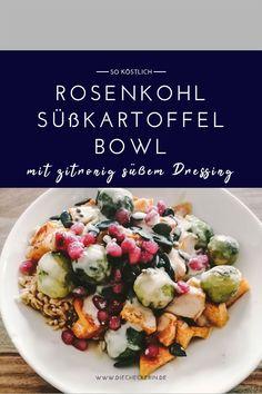Leckeres Rezept für eine Rosenkohl Süßkartoffel Bowl #vegan #veganrezept #veganerezepte #veganessen #veganideen #veganrecipes #rezepte #rosenkohl #buddhabowl #veganbowl #süßkartoffel