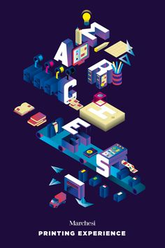 Isometric poster mad for Marchesi Grafiche Editoriali to explain their activity #ispire